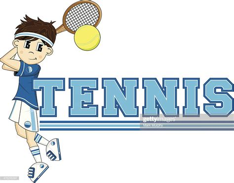 cartoon tennis boy stock illustration getty images