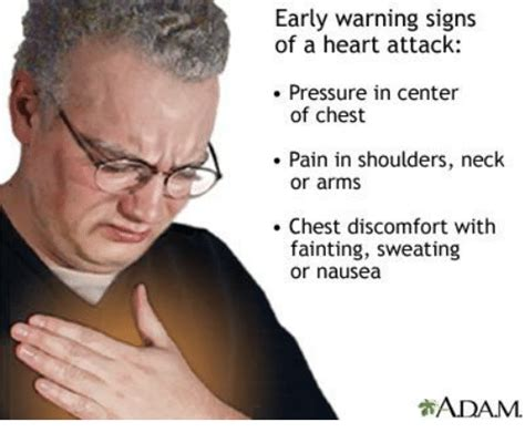 Chest Pain Meme - early warning signs of a heart attack pressure in center of chest pain in shoulders neck or arms