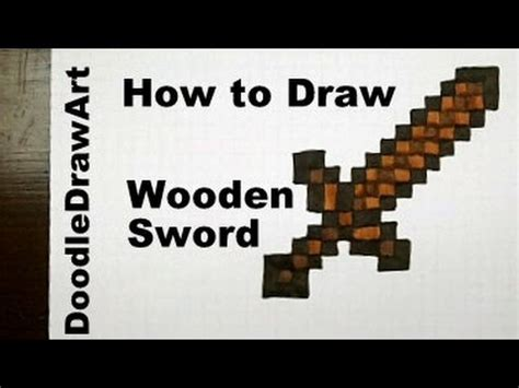 drawing   draw  minecraft sword wooden step