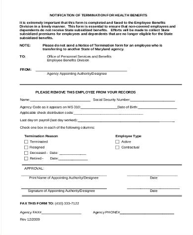 Sample Employee Termination Form
