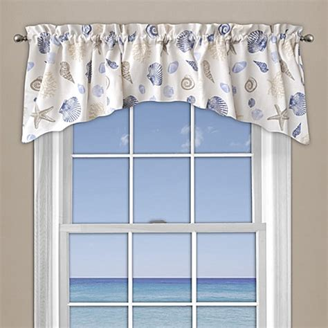buy seashore coral window curtain valance  blue  bed