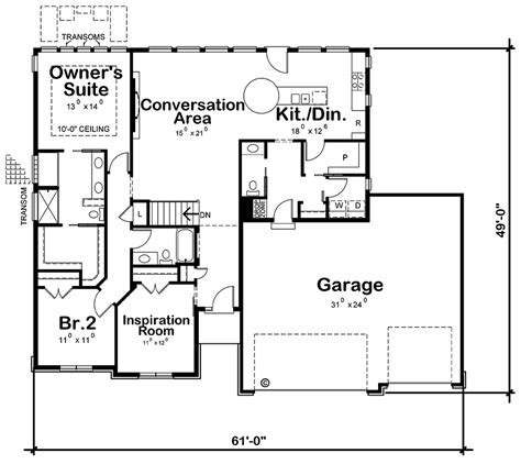 Traditional Style House Plan 80489 with 2 Bed 3 Bath 3