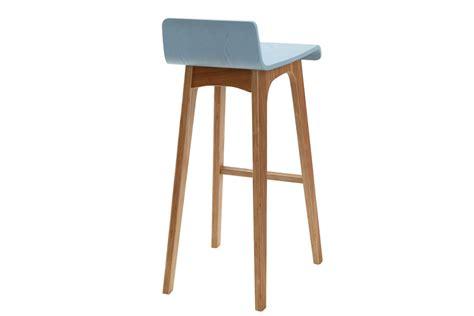 tabouret chaise de bar design bois teinté bleu