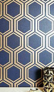 Geometric hexagon wallpaper navy blue gold metallic ...
