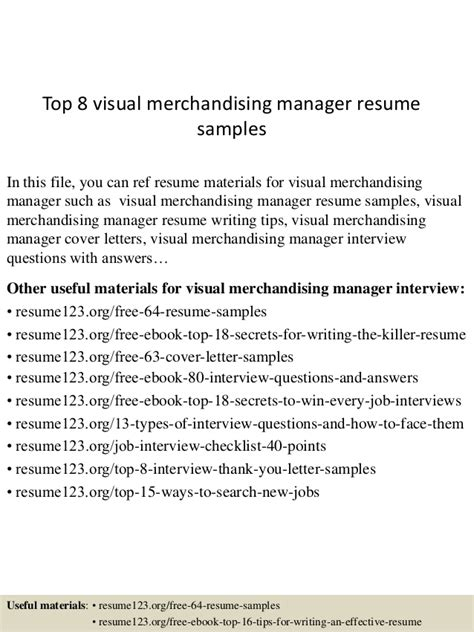 top 8 visual merchandising manager resume sles