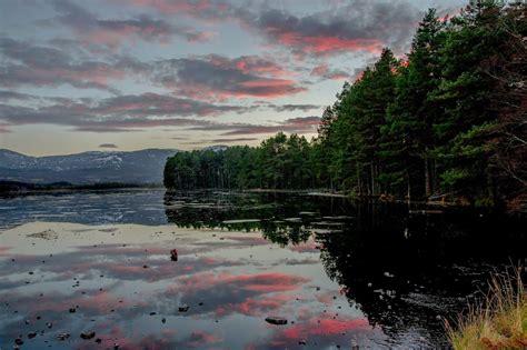 Sunset on the ice at Loch Garten Scotland Travel