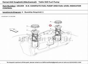 Ferrari Part Number 181204 R H  Complete Fuel Pump And