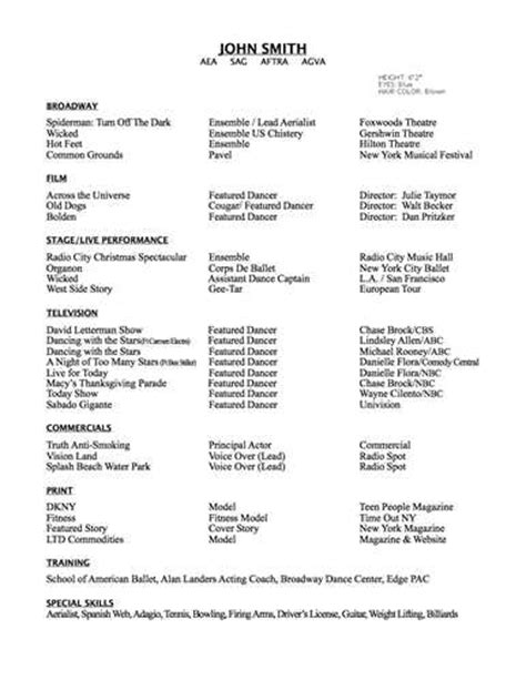 Ballet Resumen by Here Are Free Sle Dancer Resumes From Around The Web