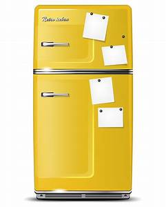 Papier peint retro refrigerateur jaune avec collantes de for Kitchen cabinets lowes with poser papier peint