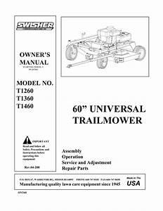 Swisher T1260 User U0026 39 S Manual