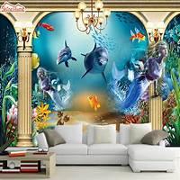 interesting kidsroom wall mural ShineHome Cool Mermaid Undersea Fishes Kids Cartoon Photo 3d Room Wallpaper Mural Rolls for ...