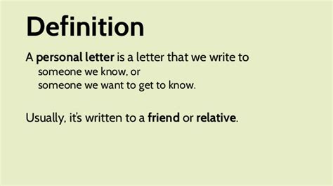 situational writing informal personal letter