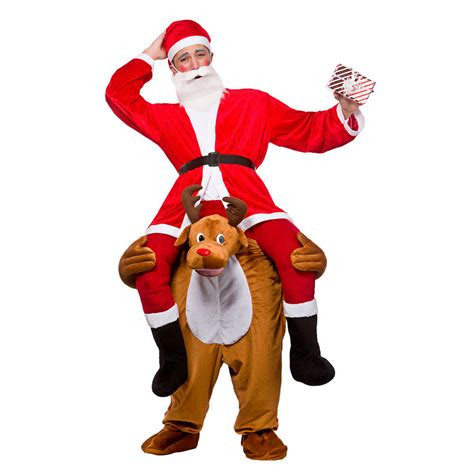 adults carry me reindeer christmas fancy dress costume