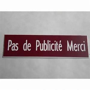 Pas De Pub Merci : plaque pas de publicite merci stop pub finition biseaut e ~ Dailycaller-alerts.com Idées de Décoration