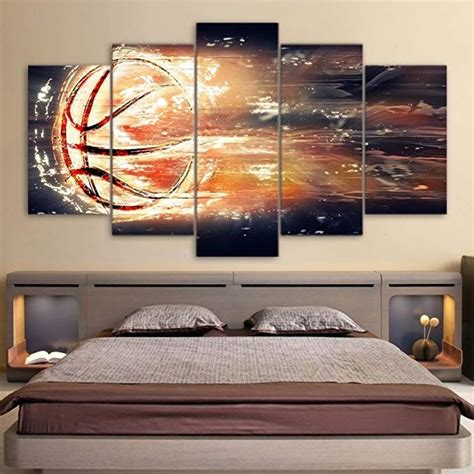 Decorating rooms for girls and boys, is always inspiring for the parents, they invest a lot of effort, love and care to make for their children the most beautiful place this season, trendy are themed rooms. Sports Themed Canvas Wall Art Canvas Art Abstract Basketball Basket Goal Painting Wall Pictures ...