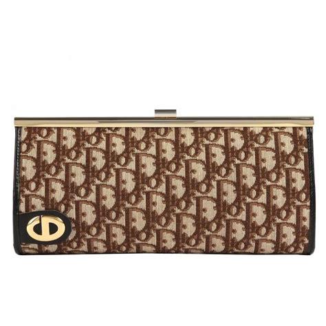 christian dior cs brown signature monogram canvas leather clutch purse bag  stdibs