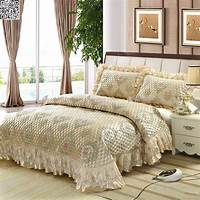king size coverlets Embroider Lace Queen King Bed Size Jacquard Quilted BedSpreads Coverlet Set A387