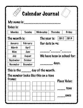 a calendar journal page for early kindergarten math