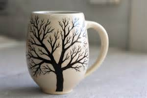 Pottery Coffee Mugs with Trees