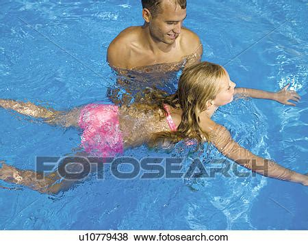 Pictures Father Teaching Daughter How Swim