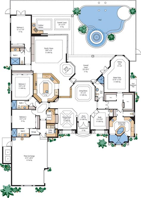 luxury kitchen floor plans large luxury home floor plans homes floor plans 7305