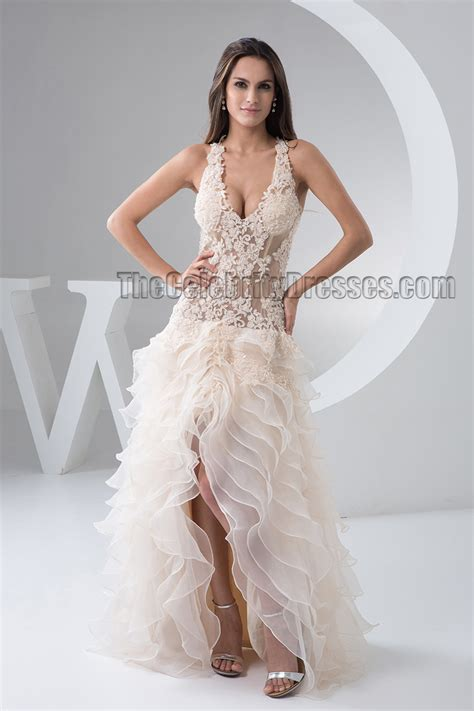 sexy champagne backless   bridal gown wedding dress