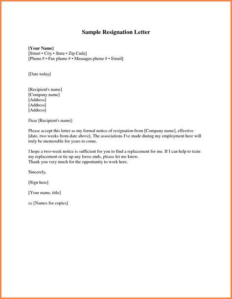 standard  week notice notice letter