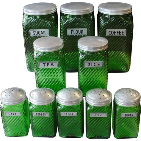 green kitchen canister set vintage owens illinois forest green canister set from breadandbutter on ruby lane