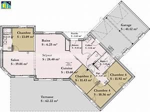 maison individuelle cta de plain pied avec 4 chambres With plan de maison en v plain pied 4 chambres
