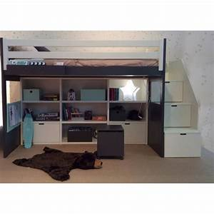 Lit Mi Hauteur Avec Rangement : lit en hauteur avec biblioth que int gr e pour enfants ~ Premium-room.com Idées de Décoration