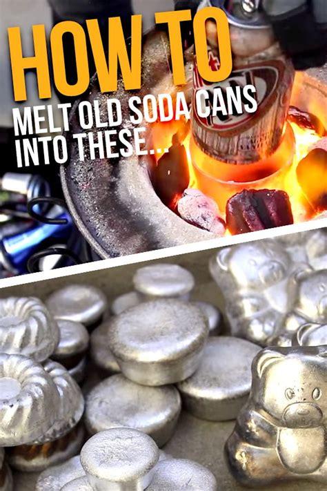 melt soda cans   diy foundry  turning