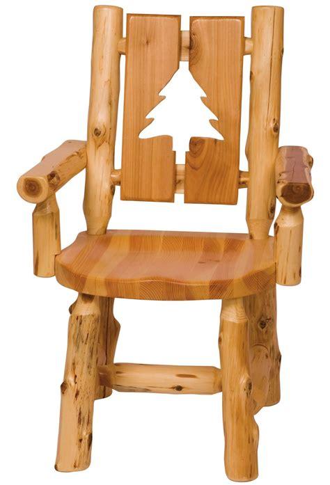 cedar cut out pine tree log arm chair