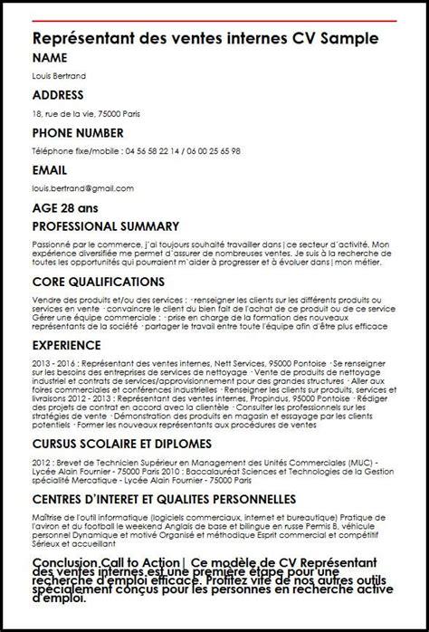 Modèle De Cv Professionnel 2016 by Modele De Cv Representant Des Ventes Internes Moncvparfait