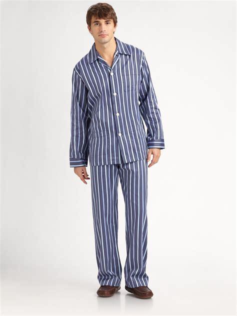 P114 Stripe Pajamas Set lyst derek royal striped pajamas set in blue for