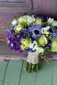 bouquets of dark purple hydrangeas, lime green roses ...