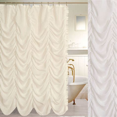 cathedral semi sheer ruched shower curtain