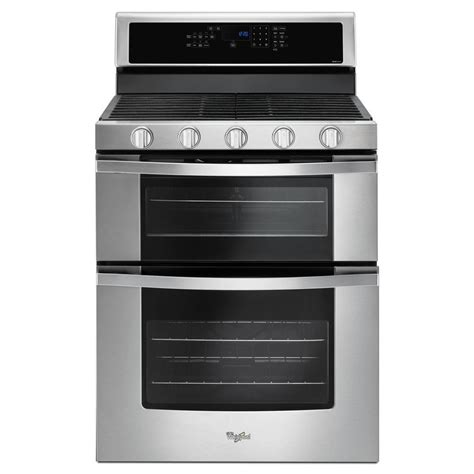 shop whirlpool 30 in 5 burner 3 9 cu ft 2 1 cu ft oven convection gas range stainless