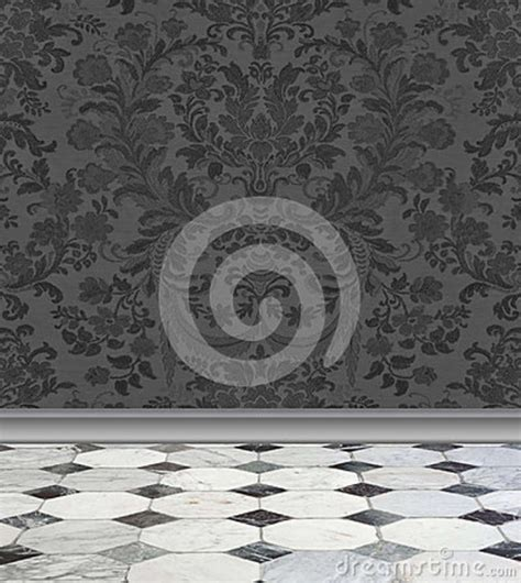 Gray Damask Wall And Marble Floor Stock Images   Image