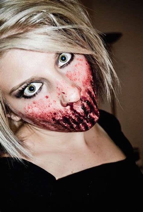 makeup scary halloween zombie mouth face creepy half teeth looks dead bloody costume costumes cool nightmare fx easyday step horror