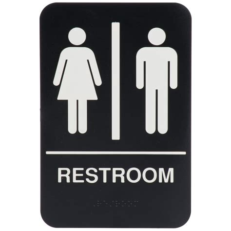 """Black And White Unisex Restroom Sign With Braille 9"""" X 6"""""""