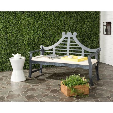 safavieh bench safavieh azusa outdoor acacia patio bench with beige