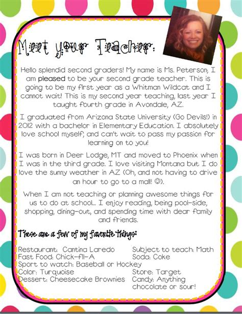 elementary teacher introduction letter  text ld