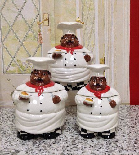 kitchen decor pc chef canister set african american guys