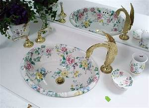 Painted Bathroom Sinks With Floral Design Home Design
