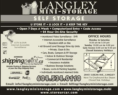 Boat Supplies Langley Bc by Langley Mini Storage Opening Hours 20451 Logan Ave
