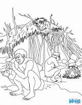 Coloring Pages Homo Erectus Stone Age Scene Daily Tools Getcolorings Printable Hellokids Template Vie sketch template