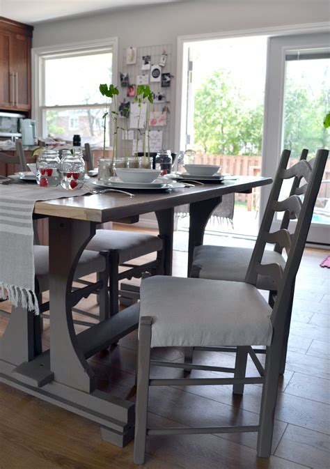 the crux harvest kitchen table makeover with chalk paint