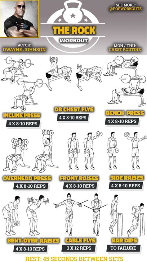 dwayne johnson chest workout workout routine chest workouts shoulder workout  rock workout