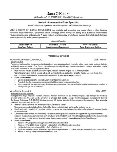 Industrial Sales Resume Exles by Sle Resume For Pharmaceutical Industry Sle Resume