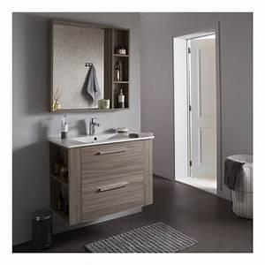 ensemble meuble de salle de bain miroir couleur olme gris With meuble salle de bain et miroir